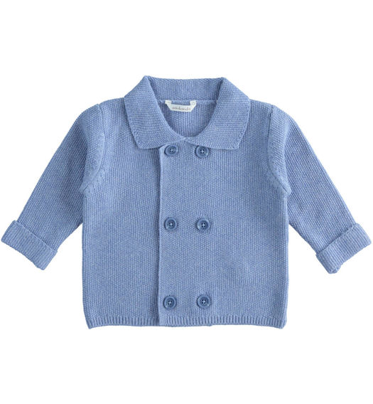 Newborn boy cardigan with double breasted closure from 0 to 24 months Minibanda CARTA ZUCCHERO MELANGE-8853