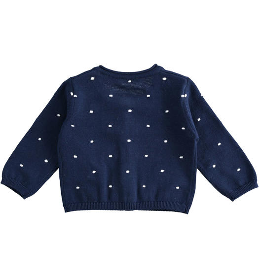 Rebecca 100% cotton cardigan for baby girl with all over embossed stitch for baby girl from 0 to 24 months Minibanda NAVY-3854