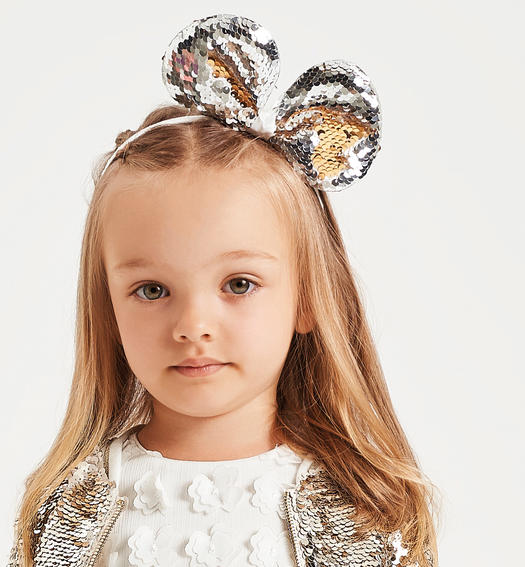 Full paillettes headband for baby girl from 6 months to 7 years Sarabanda SILVER-1157