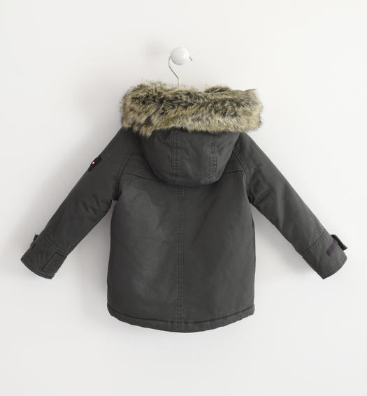 Classic parka Sarabanda lined in very warm faux fur for baby boys from 6 months to 7 years GRIGIO-0567