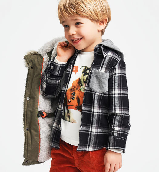 Classic parka Sarabanda lined in very warm faux fur for baby boys from 6 months to 7 years VERDE MILITARE-5557