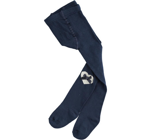 Tights made of cotton and enriched with a lurex heart for baby girls from 6 months to 7 years Sarabanda NAVY-3885