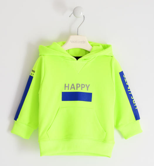 Colourful hooded sweatshirt with kangaroo pocket for boy from 6 months to 7 years Sarabanda VERDE FLUO-5834