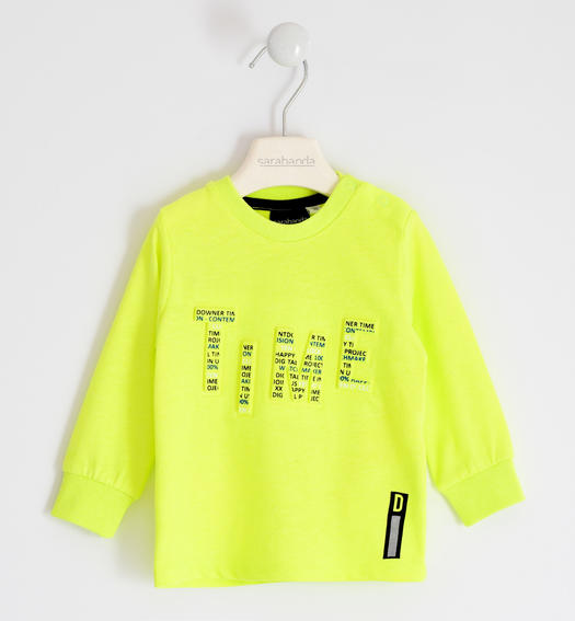 Colourful T-shirt with relief print for boy from 6 months to 7 years Sarabanda VERDE FLUO-5834