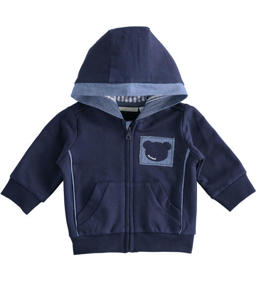 Comfortable full zip hooded 100% cotton sweatshirt for newborn boy from 0 to 24 months Minibanda NAVY-3854