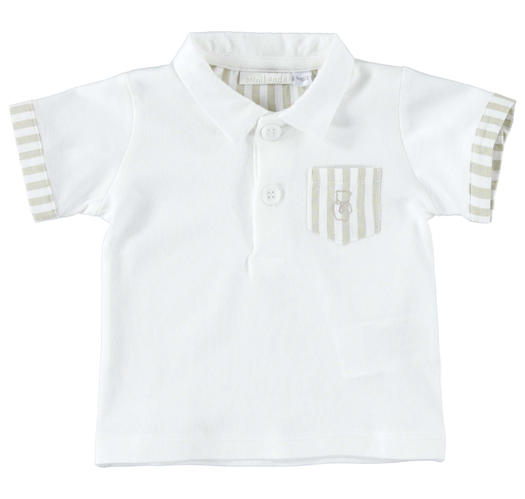 Comfortable half sleeve polo shirt 100% cotton for newborn from 0 to 24 months Minibanda BEIGE-0152