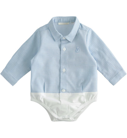 Comfortable shirt-style baby boy bodysuit from 0 to 24 months Minibanda AZZURRO-3633