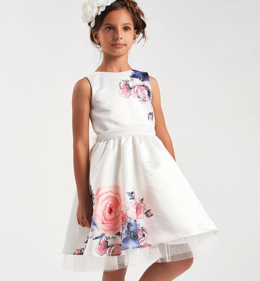 Comfortable and stylish floral print sleeveless satin dress for girls from 6 to 16 years Sarabanda PANNA-0112