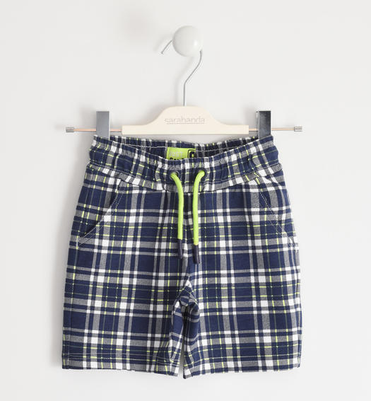 Comfortable short trousers in light checked fleece for boy from 6 months to 7 years Sarabanda BIANCO-BLU-6MA3