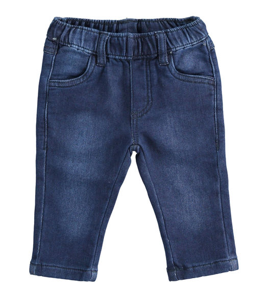 Comfortable knitted denim trousers for newborn boy from 0 to 24 months Minibanda NAVY-7775