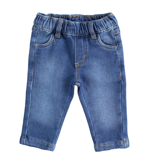 Comfortable knitted denim trousers for newborn boy from 0 to 24 months Minibanda STONE WASHED-7450