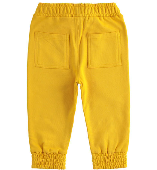 Comfortable trousers in 100% cotton brushed fleece with particular drawstring for boy from 6 months to 7 years Sarabanda GIALLO-1615