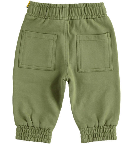 Comfortable trousers in 100% cotton brushed fleece with particular drawstring for boy from 6 months to 7 years Sarabanda VERDE SALVIA-4951
