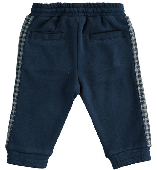 Comfortable cotton and viscose blend fleece trousers for newborn baby from 0 to 24 months Minibanda NAVY-3854