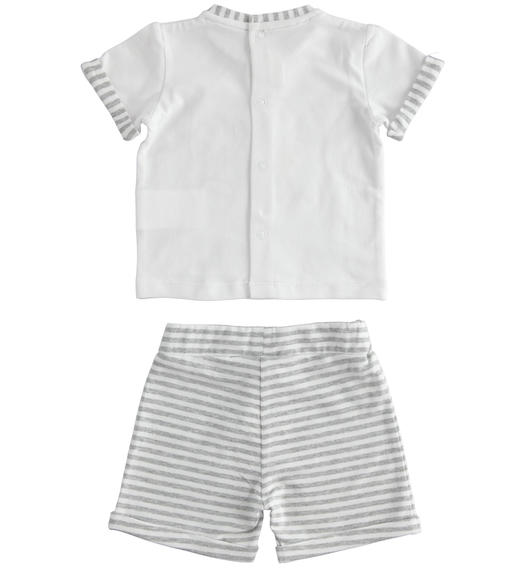 Cotton two-piece summer outfit with striped shorts for baby boy from 0 to 24 months Minibanda GRIGIO MELANGE-8992