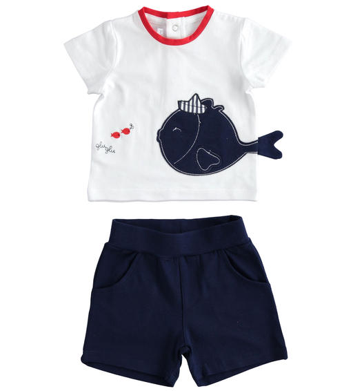 Stretch cotton two-piece summer outfit for babies from 0 to 24 months Minibanda NAVY-3854