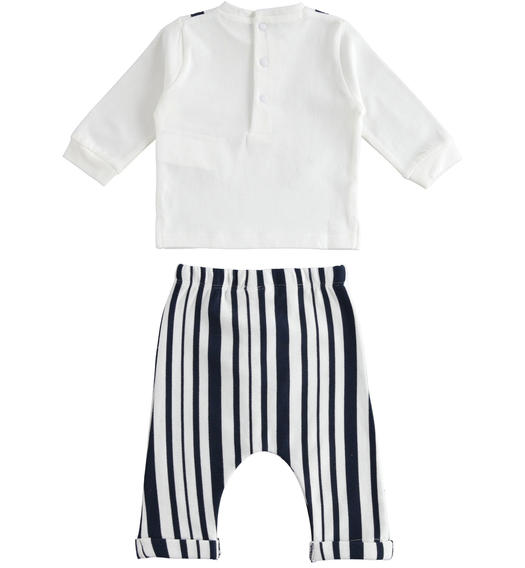 100% cotton baby set with long-sleeved shirt with fake contrasting braces for baby boy from 0 to 24 months Minibanda BIANCO-0113