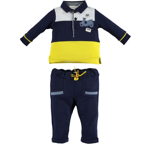 8f4f24e7e Minibanda 100% cotton outfit with striped polo shirt and trousers ...