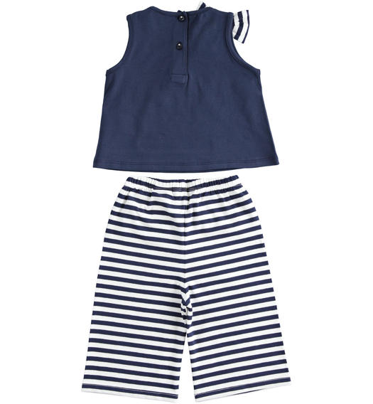 Sarabanda tank top with pocket and cropped trousers for girl from 6 months to 7 years NAVY-3854
