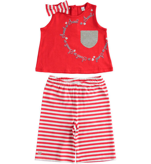 Sarabanda tank top with pocket and cropped trousers for girl from 6 months to 7 years ROSSO-2256