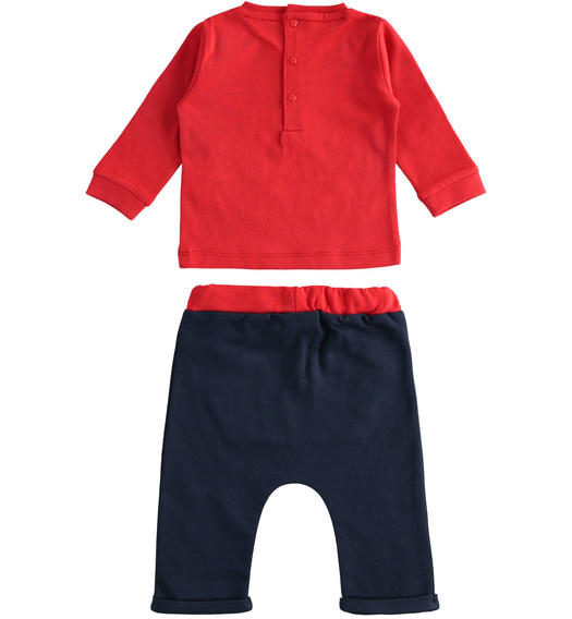 100% cotton two-piece baby set with bubble flat print shirt for baby boy from 0 to 24 months Minibanda NAVY-3854