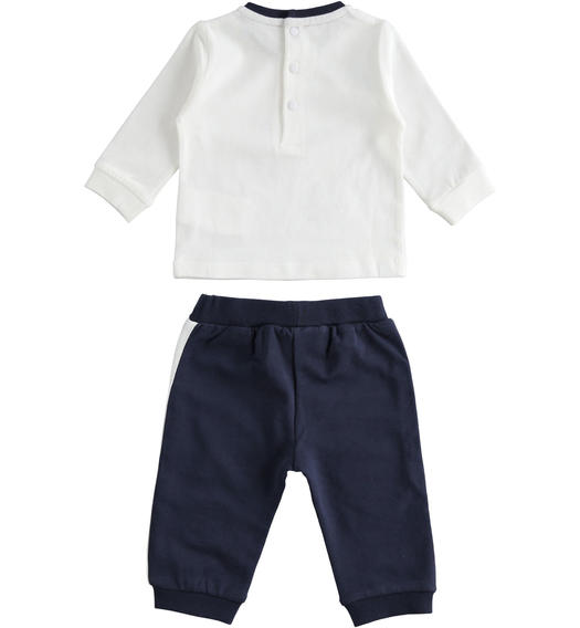 100% cotton two-piece baby set with shirt and trousers for baby boy from 0 to 24 months Minibanda NAVY-3854