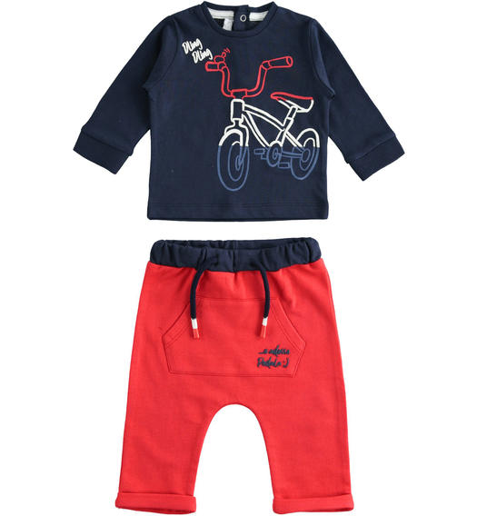 100% cotton two-piece baby set with bubble flat print shirt for baby boy from 0 to 24 months Minibanda ROSSO-2256