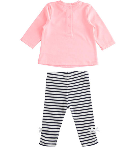 Two-piece baby girl outfit with long-sleeved shirt and striped trousers for baby girl from 0 to 24 months Minibanda PEACH FLUO-5829