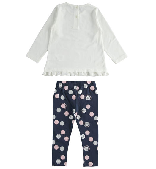 "Two-piece outfit in organic cotton ""Sarabanda interprets 500e"" for girl from 6 months to 7 years Sarabanda NAVY-ROSA-6QL1"