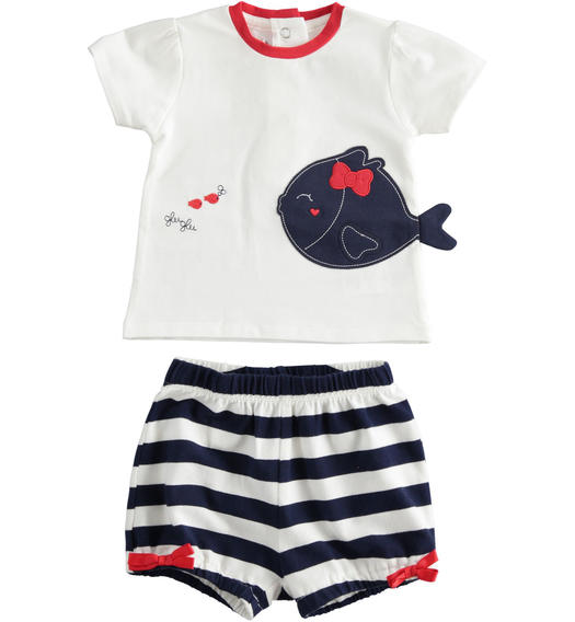 Two-piece baby girl cotton set with shirt with puff sleeves for baby girl from 0 to 24 months Minibanda NAVY-3854