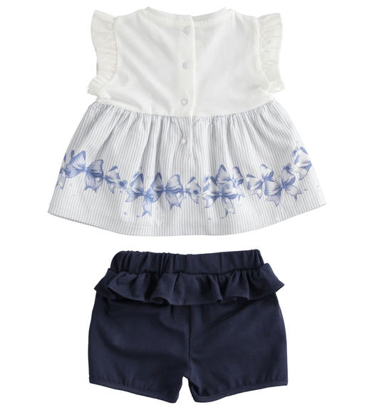 Two-piece cotton jersey set for baby girl with shorts with ruffles for baby girl from 0 to 24 months Minibanda NAVY-3854
