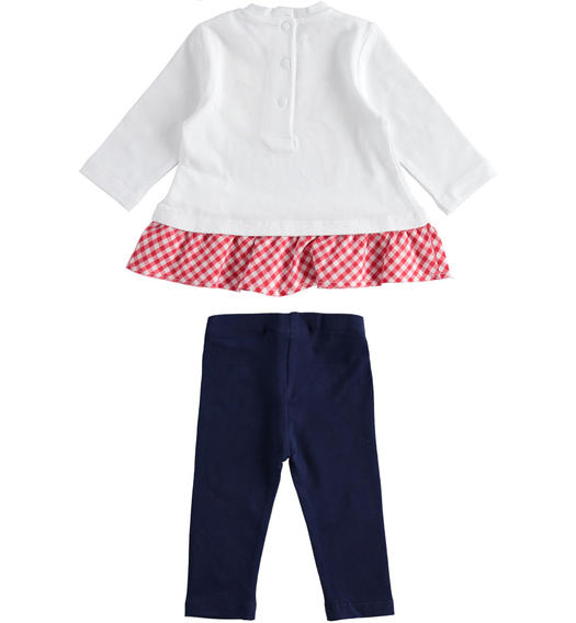 Two-piece cotton jersey set for baby girl with check details for baby girl from 0 to 24 months Minibanda BIANCO-0113