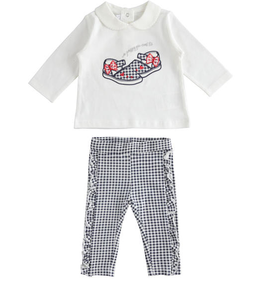 Two-piece stretch cotton jersey set for baby girl from 0 to 24 months Minibanda BIANCO-0113
