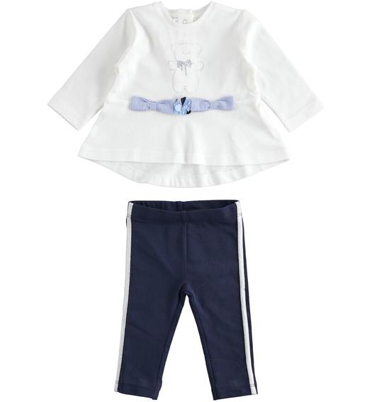 Two-piece stretch cotton jersey set for baby girl with flared fit t-shirt for baby girl from 0 to 24 months Minibanda NAVY-3854