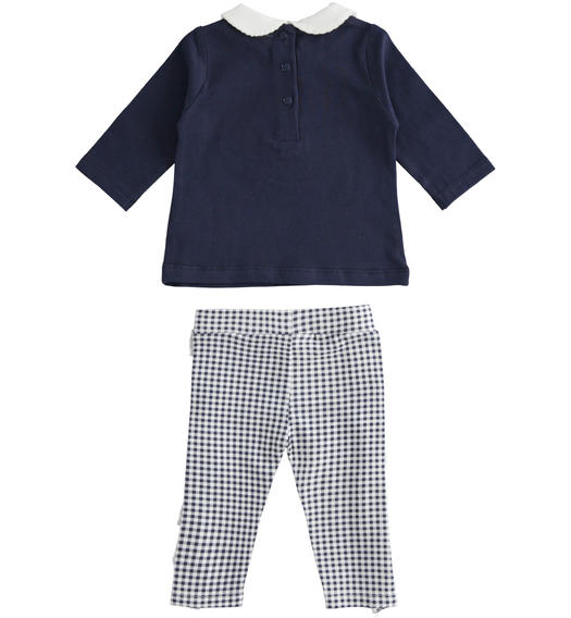 Two-piece stretch cotton jersey set for baby girl from 0 to 24 months Minibanda NAVY-3854