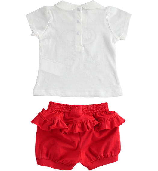 Two-piece stretch cotton jersey set for baby girl with short sleeves for baby girl from 0 to 24 months Minibanda ROSSO-2256