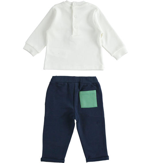 Two-piece outfit with pompom t-shirt and trousers with patches for newborn boy from 0 to 24 months Minibanda NAVY-3854
