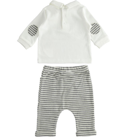 Two-piece outfit for newborn boy with striped trousers from 0 to 24 months Minibanda GRIGIO MELANGE-8993