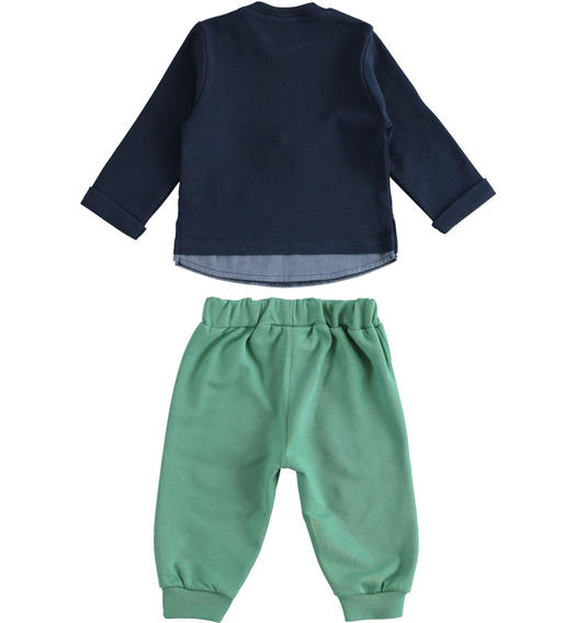 Crew neck outfit with fake shirt and trousers for newborn boy from 0 to 24 months Minibanda VERDE-4733