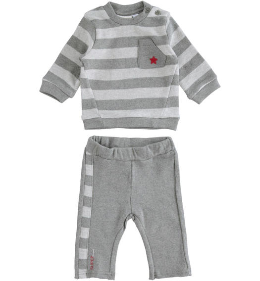 Two-piece stretch cotton set for baby with striped sweatshirt for newborn from 0 to 24 months Minibanda GRIGIO MELANGE-8993