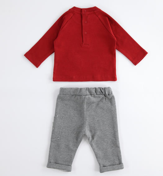 Baby jogging suit with warm touch cotton sweater for newborn from 0 to 24 months Minibanda GRIGIO MELANGE-8993