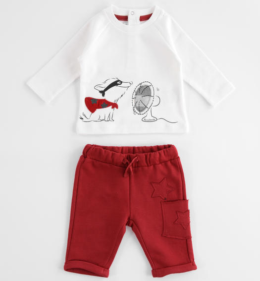 Baby jogging suit with warm touch cotton sweater for newborn from 0 to 24 months Minibanda ROSSO-2536