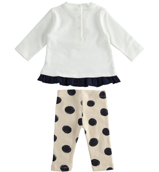 Outfit with t-shirt with contrasting flounce and polka dot leggings for newborn girl from 0 to 24 months Minibanda BEIGE-NAVY-6NR1
