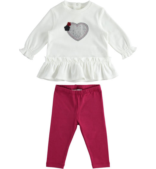 Outfit with t-shirt with sequin heart and leggings for newborn girl from 0 to 24 months Minibanda BORDEAUX-2654