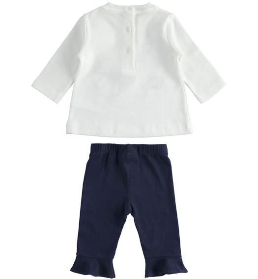 Outfit with t-shirt with bows and leggings with ruffles for newborn girl from 0 to 24 months Minibanda NAVY-3854