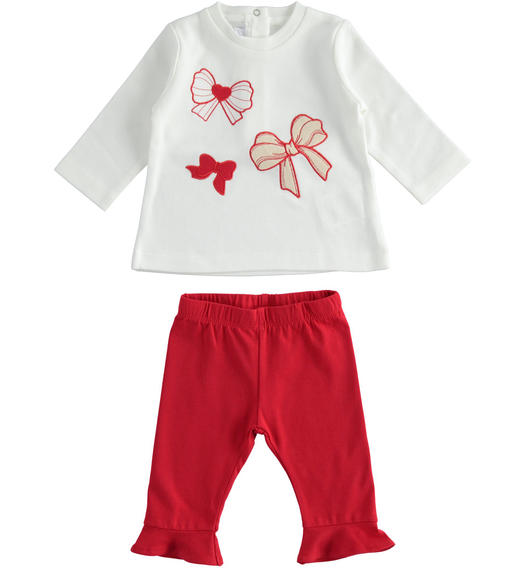 Outfit with t-shirt with bows and leggings with ruffles for newborn girl from 0 to 24 months Minibanda ROSSO-2253