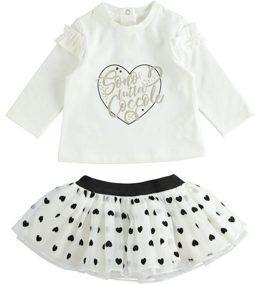 Set made of shirt and organza skirt with hearts for newborn from 0 to 24 months Minibanda PANNA-0112