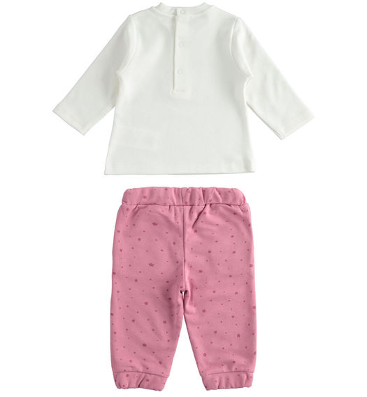"Outfit with t-shirt and trousers with stars in 100% organic cotton ""organic capsule"" for newborns from 0 to 24 months Minibanda CIPOLLA-MELANZANA-6NT9"