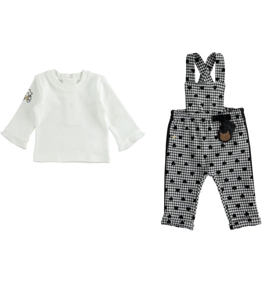 Jacquard shirt and dungarees set for newborn from 0 to 24 months Minibanda NERO-0658