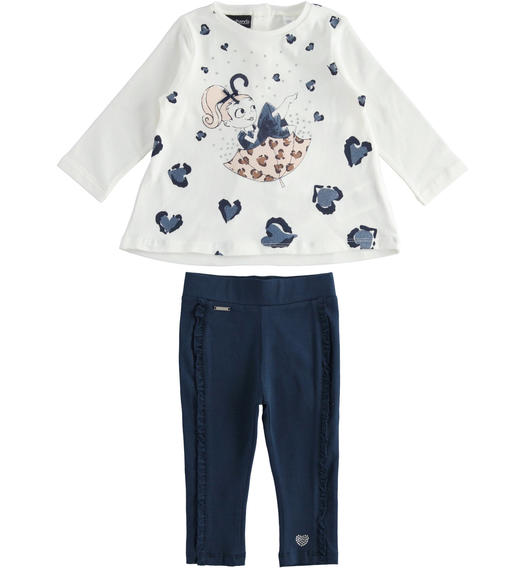 Outfit made of maxi sweater with ruffles and polka dot leggings for girl from 6 months to 7 years Sarabanda NAVY-3885